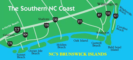 Calabash Map Calabash Nc Vacation Nc Beaches